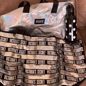 Victoria secret bags and water bottle